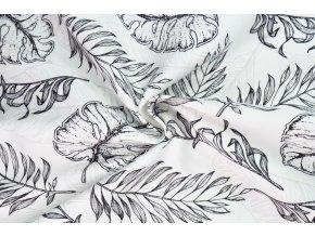 Bavlnený satén černobiele listy
