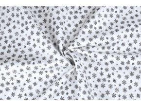 Bavlněné plátno šedé mini vločky na biele3