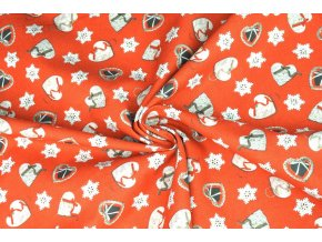 Bavlněné plátno vianočné šitá srdiečka1
