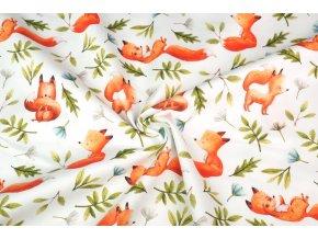 Bavlnený satén líšky v lese