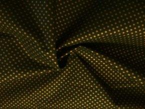 bavlnene platno zlate punticky na zelene