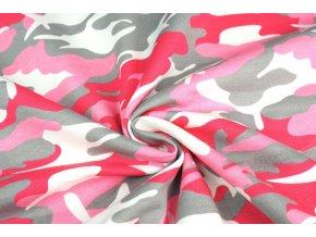 Teplákovina maskáč ružový