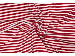 16238 bavlneny uplet cerveno bily pruh 0 5 cm