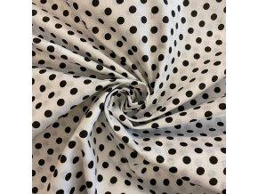 Bavlna bodky čierne na bielej
