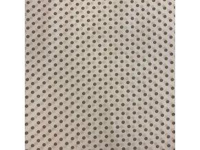 Bavlna bodky sivé na bielej