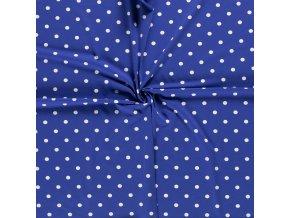 Jednostranný bavlnený úplet bodky biele na kráľovsky modrej