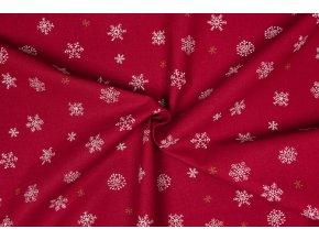 Bavlnené plátno rôzne vločky na červenej