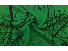 Popelín čierne obrysy stromov na zelenej