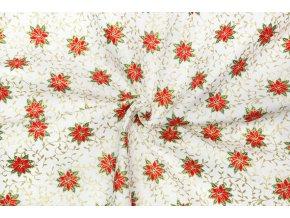Vianočné bavlnené plátno cezmíny na ecru