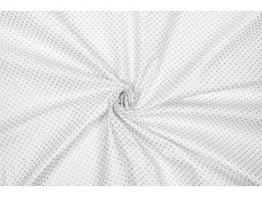 Bavlnené plátno strieborné bodky na bielej