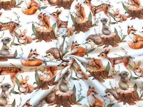 Bavlnený satén maľované lesné zvieratká digi tlač