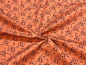 Bavlnený satén nápisy a kávové zrnká na hrdzavo-oranžovej - Vzor od Mamtex