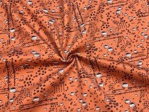 Bavlnený satén šálky a druhy kávy na hrdzavo-oranžovej - Vzor od Mamtex