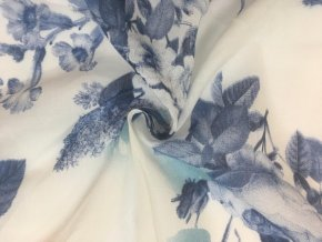 Popelín modré kvety na bielej