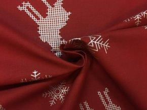 Bavlnené plátno strieborné vianočné vločky a soby na červenej
