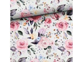 Bavlnené plátno rozkvitnuté ruže digi tlač