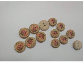 Gombík dvojdierkový plastový vzor ruže