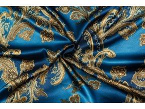 Umelý hodváb / Silky Armani zrnitá petrolejová so zlatými kašmírovými ornamentmi