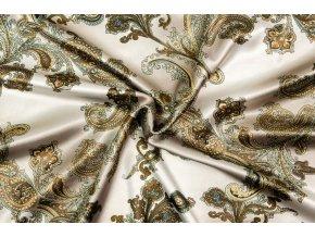 Umelý hodváb / Silky Armani zrnitá flaškovo zelená  so zlatými kašmírovými ornamentmi