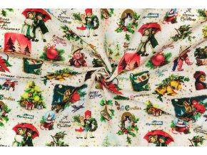Bavlna režná retro Vianoce
