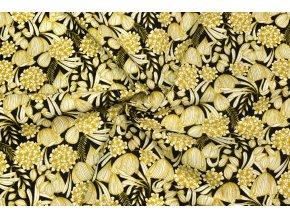 Bavlnené plátno horčicové rastliny na čiernej