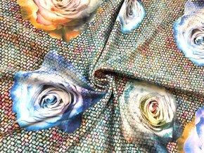 Umelý hodváb / Silky farebné pastelové ruže na studenej mozaike