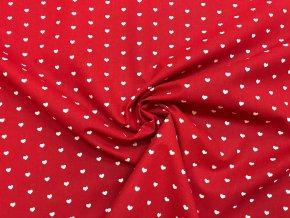 Bavlnené plátno biele srdiečka na červenej