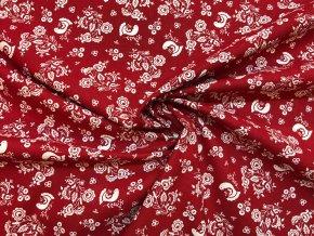Bavlnené plátno folklórny motív s vtáčikmi na červenej