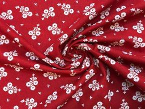 Bavlnené plátno zväzok bielych folklórnych kvetov na červenej