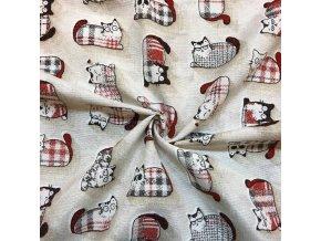 Bavlna režná vzorované mačky červené