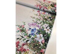 Režná bavlna obojstranná bordúra farebné lúčne kvety