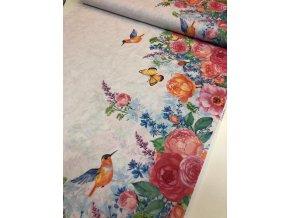 Režná bavlna obojstranná bordúra ruže a vtáčiky