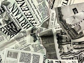 Bavlna režná čierno-biele noviny