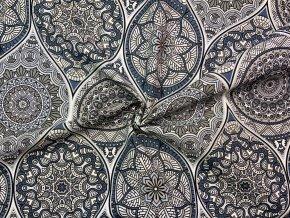 Bavlna režná sivo-modré mandaly