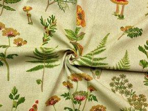 Bavlna režná huby a papradie