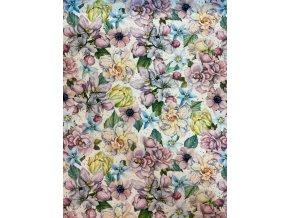 Teplákovina pastelové kvety digi tlač