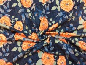 Bavlnený úplet ruže na jeans TMAVEJ