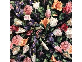 Teplákovina kvety na čiernej