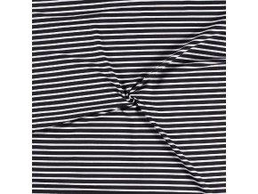 Teplákovina pruh čierny 1,5 cm biely 0,5 cm