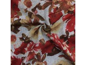 Ľanová tkanina červené kvety na sivomodrej