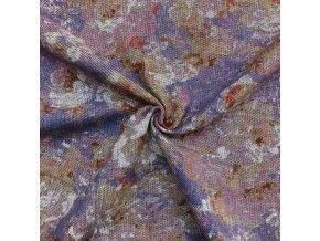 Ľanová tkanina rozpité ružovo-fialové kvety