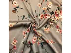 Umelý hodváb / Silky kvety na vetvičkách na sivej