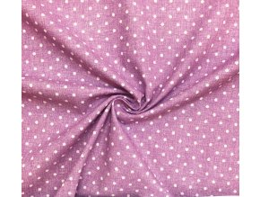 Bavlnené plátno biele bodky na fialkovej