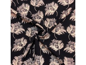 Tkanina viskózová kvetinový vzor na tmavomodrej
