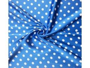 Umelý hodváb / Silky biele guľky 1 cm na modrej