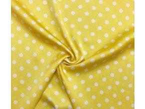 Umelý hodváb / Silky biele guľky 1 cm na žltej