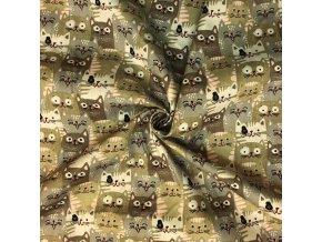 Popelín hnedo-sivé mačky v rade