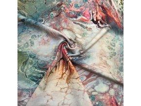 Umelý hodváb / Silky tyrkysovo ružový mramor