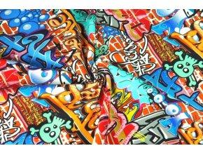 Bavlnený úplet graffiti na stene