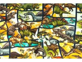 Bavlnený úplet komiks dinosaury